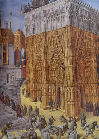Jerez de los Caballeros, Spain - April 15th, 2019: Building of the Temple of Jerusalem, 1470 by Jean Fouquet. Reproduction at House-Museum of Nunez de Balboa original at