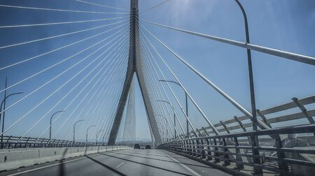 Driving by Constitution of 1812 Bridge over Cadiz Bay, Andalusia, Spain