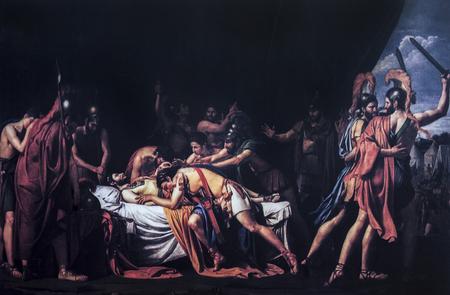 Badajoz, Spain - Dic 19th, 2018: Reproduction of Madrazo painting with Viritato death scene, Oiriginal at Museo del Prado. Reproduction at Luis de Morales Museum, Badajoz, Spain