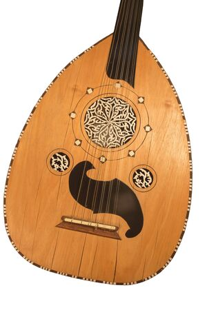 Arabic oud musical instrument detail. Isolated