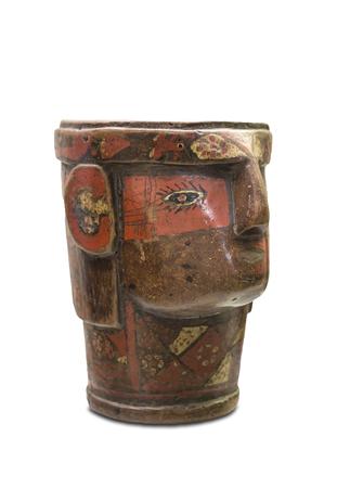 Madrid, Spain - Sept 8th, 2018: Kero or ceremonial glass of Inca people. Museum of the Americas, Madrid, Spain