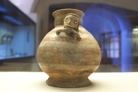 Caceres, Spain - March 28th, 2019: Manteno civilization clay, pre-hispanic ecuadorian people. Guayasamin House-Museum, Extremadura, Spain