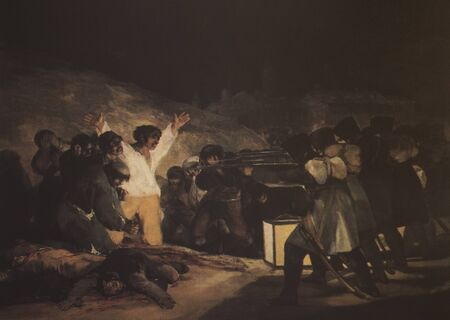 Badajoz, Spain - Dec 19th, 2018: The Executions of 3rd of May 1808, painted by Goya. Reproduction at Luis de Morales Museum, Badajoz