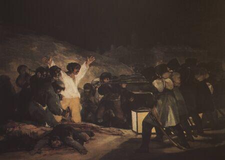 Badajoz, Spanien - 19. Dezember 2018: Die Hinrichtungen vom 3. Mai 1808, gemalt von Goya. Reproduktion im Museum Luis de Morales, Badajoz