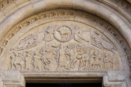 Basilica of San Isidoro, Leon, Spain. Sacrifice of Isaac at Lamb door