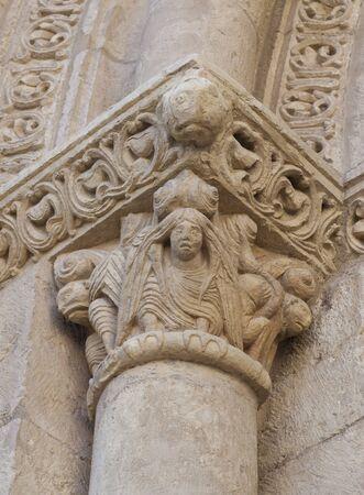 Basilica of San Isidoro, Leon, Spain. Capital decorated with harpy at Door of Lamb