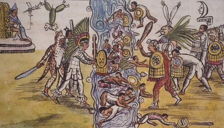 Aztecs fighting against Metztitlan at Duran Codex. National Library, Spain