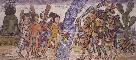 Moctezuma II troops conquests Quatzontlan and Saltepec at Duran Codex. National Library, Spain