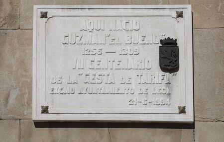 Montilla, Spain - June 25th, 2019: Guzman el Bueno, 13th Spanish nobleman and hero of Reconquest. Memorial plaque in his home town, Leon, Spain