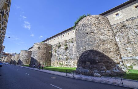 Leon, Spain - June 25th 2019: Leon roman city walls. Built in the 1st century BC and enlarged in the 3rd-4th centuries AD