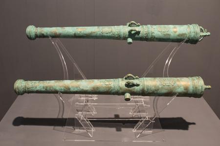 Cartagena, Spain - September 14th, 2018: Spanish 18th bronze cannon belonged to Santa Barbara and Santa Rufina ships. ARQUA Museum, Spain Editöryel