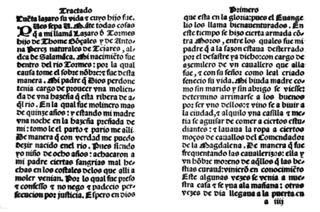 Badajoz, Spain - Jul 10th, 2019: Title page from 16th century spanish novel Life of Lazarillo de Tormes. Facsimile ed. from Library Barcarrota Collection. Chapter 1, childhood and apprenticeship to a