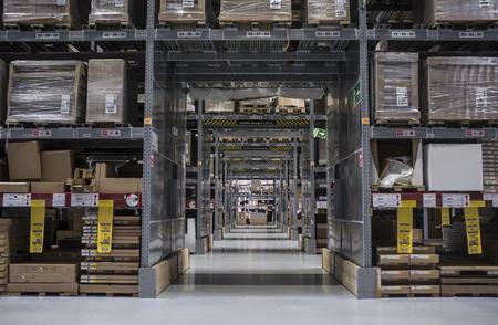 Alcorcon, Spain - Jul 14th 2019: Self-service warehouse area at Ikea shop