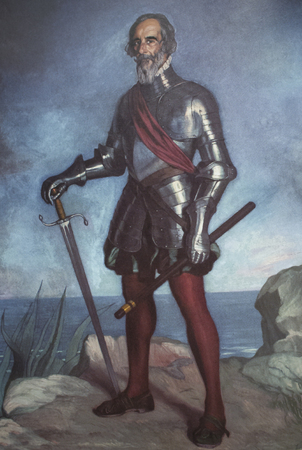 Caceres, Spain - July 21th, 2019: Hernan Cortes Portrait painted by Zuloaga in 1941. Reproduction at Casa Pedrilla History Museum. Caceres, Extremadura, Spain