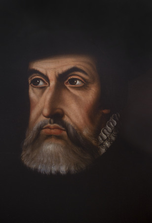 Caceres, Spain - July 21th, 2019: Hernan Cortes Portrait painted by Paulo Giovio. Reproduction at Casa Pedrilla History Museum. Caceres, Extremadura, Spain