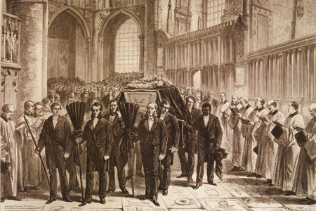 David Livingstone, 19th-century explorer of Africa. Funeral in Westminster Abbey in 1873 Stock Photo - 128727241