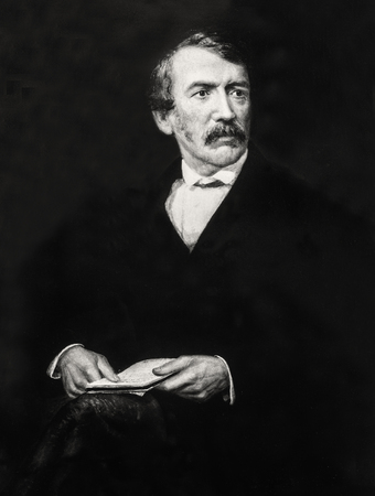 David Livingstone, 19th-century explorer of Africa. Posthumous portrait by Frederick Havill. Black and white Stock Photo - 128727242