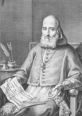 Badajoz, Spain - April 15th, 2019: Juan de Ribera portrait, Archbishop and Viceroy of Valencia. Biblioteca de Extremadura, Badajoz Editorial