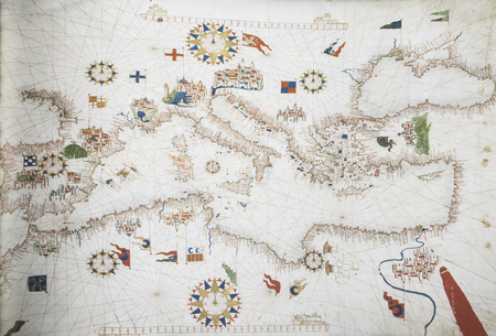 Jerez de los Caballeros, Spain - April 15th, 2019: 1563 portulan chart of by Mateo Prunes. Reproduction at House-Museum of Nunez de Balboa