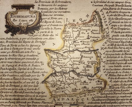 Caceres, Spain - July 21th, 2019: 1756 Map of pronvince of Extremadura by Tomas Lopez. Reproduction at Casa Pedrilla History Museum. Caceres, Extremadura, Spain Editorial