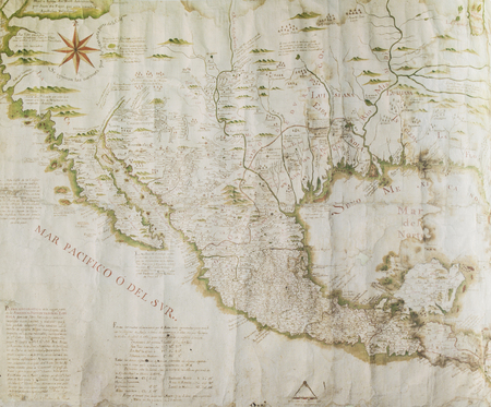 Caceres, Spain - July 21th, 2019: 1772 geographic map of most of Spanish North America. Reproduction at Casa Pedrilla History Museum. Caceres, Extremadura, Spain Editorial