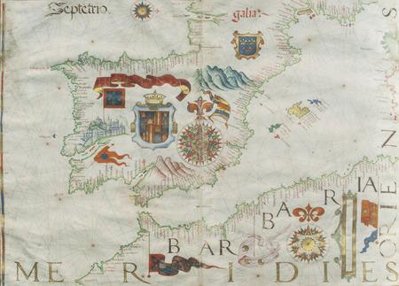 1561 Portulan map of Ibrian Peninsula painted by Diego Homen. Original at Spanish Naval Museum
