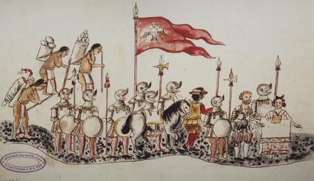Hernan Cortes komt aan in Tenochtitlan. Manuscript bekend als Codex Azcatitlan, Nationale Bibliotheek van Frankrijk