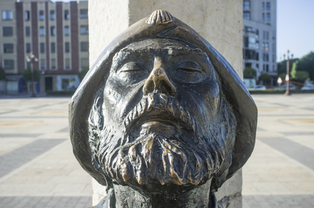 Leon, Spain - June 26th, 2019: Monument To The Pilgrim at San Marcos Square, Leon City, Castile and Leon, Spain. Face closeup Editorial
