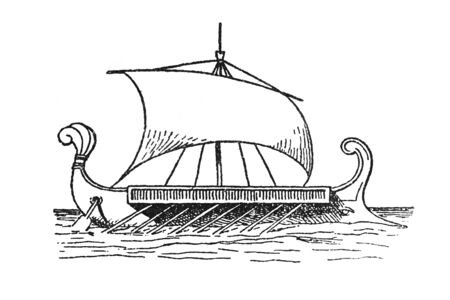 Roman liburnian ship draw. Small galley used for raiding and patrols, particularly by the Illyrians and the Roman navy