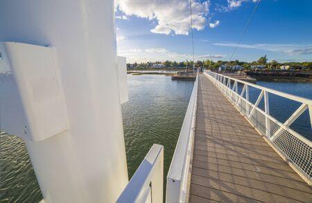 Tavira Island pedestrian drawbridge, built to access by land to Barril Beach, Algarve, Portugal Stock Photo