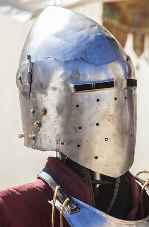 Pointed full helmet, used by moorish armies during Reconquista period, 11-13th Century. Displayed on stand outdoors