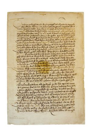 1494 Treaty of Tordesillas page. Archive of the Indies. This agreement divided the newly discovered lands between the Portuguese Empire and the Crown of Castile