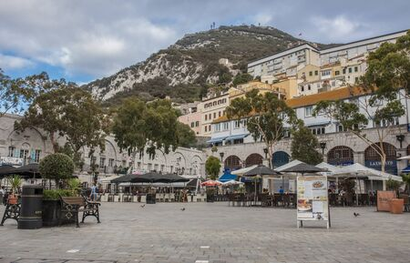 Gibraltar, UK - July 27th 2019: Grand Casemates Square. Landmark lined with numerous pubs, bars and restaurants, Gibraltar, UK Editorial