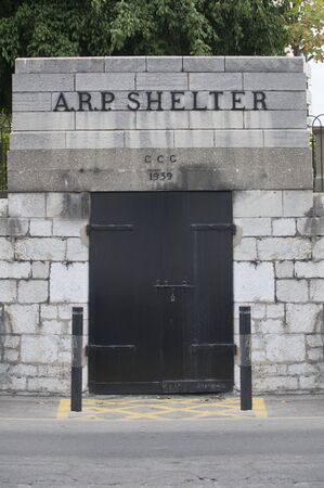 Gibraltar, UK - July 27th 2019: 1939 British Air Raid Shelter in  Gibraltar. Western Seaboar. British Overseas Territory Editorial