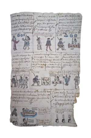 Outrage towards indigenous people at Mendoza Codex. History of the Aztec rulers and their conquistadors. Bodleian Library at Oxford University