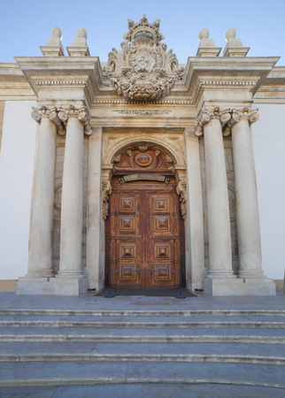 Coimbra, Portugal - Sept 6th 2019: Johannine Library outdoors entrance. University courtyard