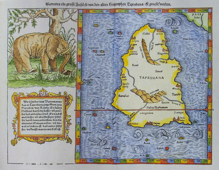 1574 Sebastian Munster map of Taprobana. Mythological island mentioned by Marco Polo with  enormous landmass