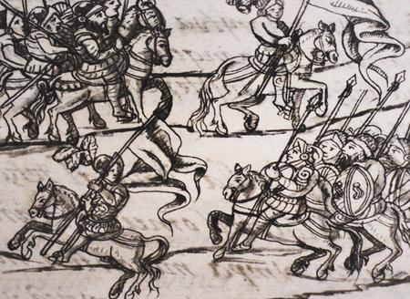 Cabalry deployment of Spanish troops in the Florentine Codex, 16th-century study by Spanish Franciscan Bernardino de Sahagun. Laurentian Library of Florence, Italy Editorial
