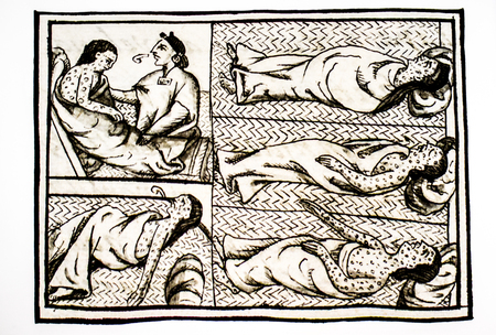 Tenochtitlan people sick with smallpox at Florentine Codex, 16th-century study by Spanish Franciscan Bernardino de Sahagun. Laurentian Library of Florence, Italy Editorial