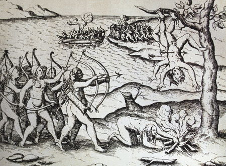 American Amazons women killing indians by Theodor De Bry. Spanisj National Library, Madrid