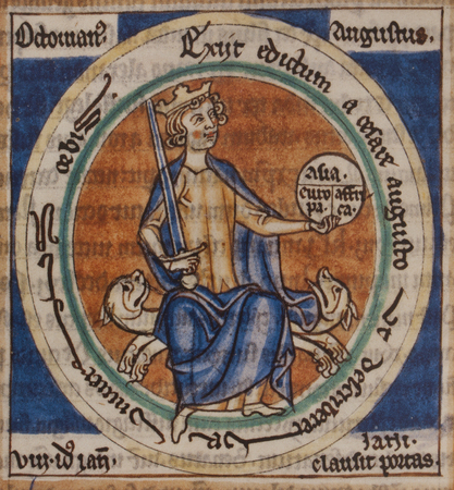Emperor Augustus portrait holding sword and tripartite globe of the world on hand at Liber Floridus, medieval of 1090 by Lambert