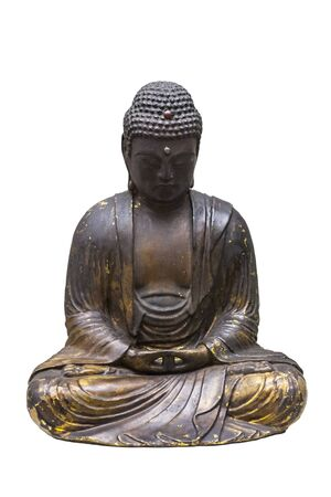 Madrid, Spain - Sept 12th, 2018: Old seated Japanesse buddha. Isolated. National Anthropology Museum, Madrid