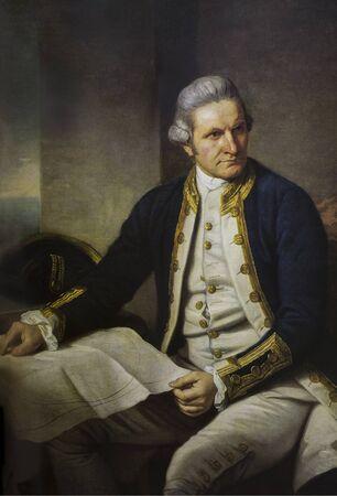 Portret van Captain James Cook geschilderd door Nathaniel Dance. Britse ontdekkingsreiziger, navigator, cartograaf en kapitein bij de Royal Navy