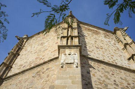 Coat of arms of Charles V, atached to Church of Nuestra Senora de la Purificacion, 16th century, Almendralejo, Spain Stock Photo