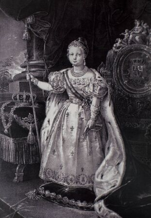Isabelle II d'Espagne, portrait d'enfant, reine d'Espagne, XIXe siècle. Aquatinte lithographique