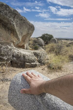 Senses route at Natural Monument of Los Barruecos. Track suitable for blind people Scale models of shark-shaped granite formation, Caceres, Spain