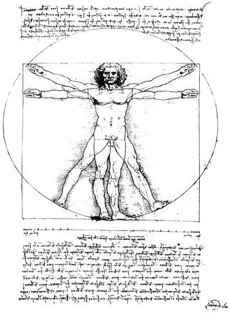 Leonardo da Vinci Vitruvian Man. Gallerie dellAccademia of Venice, Italy. Isolated over white background