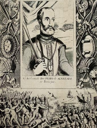 Pedro de Alvarado portrait, spanish conquistador. Engraving