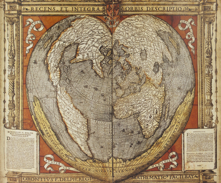 Heart-shaped map of Oronce Fine, French mathematician and cartographer, 1536 Editorial