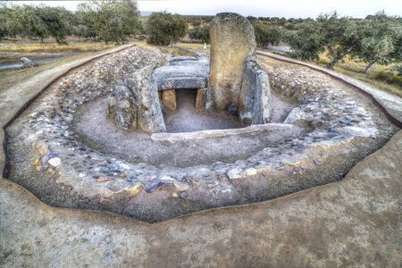 Dolmen of Lacara, the biggest megalithic burial in Extremadura. Spain Stock Photo